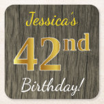 [ Thumbnail: Faux Wood, Faux Gold 42nd Birthday + Custom Name Paper Coaster ]