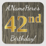 [ Thumbnail: Faux Wood, Faux Gold 42nd Birthday + Custom Name Sticker ]