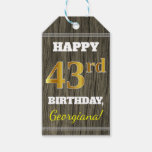 [ Thumbnail: Faux Wood, Faux Gold 43rd Birthday + Custom Name Gift Tags ]