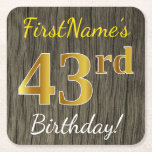 [ Thumbnail: Faux Wood, Faux Gold 43rd Birthday + Custom Name Paper Coaster ]