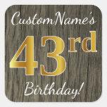 [ Thumbnail: Faux Wood, Faux Gold 43rd Birthday + Custom Name Sticker ]
