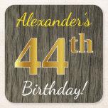 [ Thumbnail: Faux Wood, Faux Gold 44th Birthday + Custom Name Paper Coaster ]