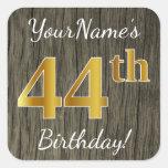 [ Thumbnail: Faux Wood, Faux Gold 44th Birthday + Custom Name Sticker ]