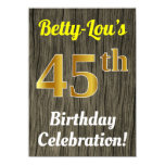 [ Thumbnail: Faux Wood, Faux Gold 45th Birthday Celebration Invitation ]