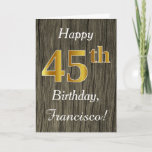 [ Thumbnail: Faux Wood, Faux Gold 45th Birthday + Custom Name Card ]