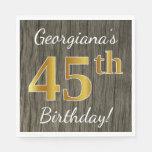 [ Thumbnail: Faux Wood, Faux Gold 45th Birthday + Custom Name Paper Napkin ]