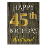 [ Thumbnail: Faux Wood, Faux Gold 45th Birthday + Custom Name Postcard ]
