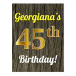 [ Thumbnail: Faux Wood, Faux Gold 45th Birthday & Custom Name Postcard ]