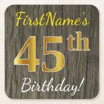 [ Thumbnail: Faux Wood, Faux Gold 45th Birthday + Custom Name Paper Coaster ]