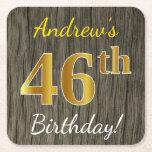 [ Thumbnail: Faux Wood, Faux Gold 46th Birthday + Custom Name Paper Coaster ]