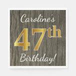 [ Thumbnail: Faux Wood, Faux Gold 47th Birthday + Custom Name Napkin ]