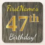 [ Thumbnail: Faux Wood, Faux Gold 47th Birthday + Custom Name Paper Coaster ]