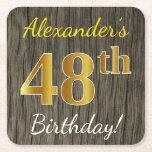 [ Thumbnail: Faux Wood, Faux Gold 48th Birthday + Custom Name Paper Coaster ]