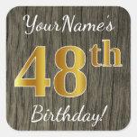 [ Thumbnail: Faux Wood, Faux Gold 48th Birthday + Custom Name Sticker ]