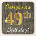 [ Thumbnail: Faux Wood, Faux Gold 49th Birthday + Custom Name Paper Coaster ]
