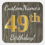 [ Thumbnail: Faux Wood, Faux Gold 49th Birthday + Custom Name Sticker ]