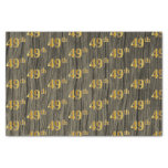 [ Thumbnail: Faux Wood, Faux Gold 49th (Forty-Ninth) Event Tissue Paper ]