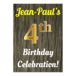[ Thumbnail: Faux Wood, Faux Gold 4th Birthday Celebration Invitation ]