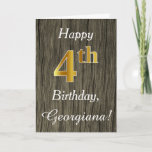 [ Thumbnail: Faux Wood, Faux Gold 4th Birthday + Custom Name Card ]