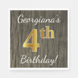 [ Thumbnail: Faux Wood, Faux Gold 4th Birthday + Custom Name Paper Napkin ]