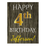[ Thumbnail: Faux Wood, Faux Gold 4th Birthday + Custom Name Postcard ]