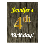 [ Thumbnail: Faux Wood, Faux Gold 4th Birthday & Custom Name Postcard ]