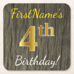 [ Thumbnail: Faux Wood, Faux Gold 4th Birthday + Custom Name Paper Coaster ]