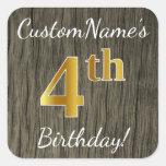 [ Thumbnail: Faux Wood, Faux Gold 4th Birthday + Custom Name Sticker ]