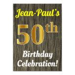 [ Thumbnail: Faux Wood, Faux Gold 50th Birthday Celebration Invitation ]