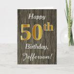 [ Thumbnail: Faux Wood, Faux Gold 50th Birthday + Custom Name Card ]