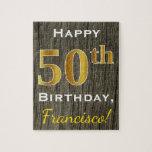 [ Thumbnail: Faux Wood, Faux Gold 50th Birthday + Custom Name Jigsaw Puzzle ]