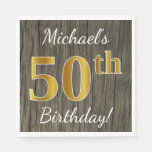 [ Thumbnail: Faux Wood, Faux Gold 50th Birthday + Custom Name Napkin ]