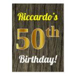 [ Thumbnail: Faux Wood, Faux Gold 50th Birthday & Custom Name Postcard ]