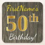 [ Thumbnail: Faux Wood, Faux Gold 50th Birthday + Custom Name Paper Coaster ]