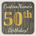 [ Thumbnail: Faux Wood, Faux Gold 50th Birthday + Custom Name Sticker ]