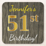 [ Thumbnail: Faux Wood, Faux Gold 51st Birthday + Custom Name Paper Coaster ]