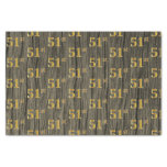 [ Thumbnail: Faux Wood, Faux Gold 51st (Fifty-First) Event Tissue Paper ]