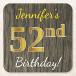 [ Thumbnail: Faux Wood, Faux Gold 52nd Birthday + Custom Name Paper Coaster ]