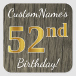 [ Thumbnail: Faux Wood, Faux Gold 52nd Birthday + Custom Name Sticker ]