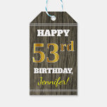 [ Thumbnail: Faux Wood, Faux Gold 53rd Birthday + Custom Name Gift Tags ]
