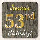 [ Thumbnail: Faux Wood, Faux Gold 53rd Birthday + Custom Name Paper Coaster ]
