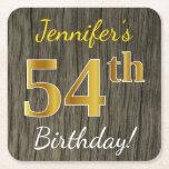 [ Thumbnail: Faux Wood, Faux Gold 54th Birthday + Custom Name Paper Coaster ]