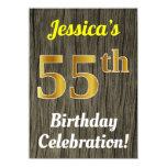 [ Thumbnail: Faux Wood, Faux Gold 55th Birthday Celebration Invitation ]