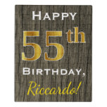 [ Thumbnail: Faux Wood, Faux Gold 55th Birthday + Custom Name Jigsaw Puzzle ]