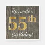 [ Thumbnail: Faux Wood, Faux Gold 55th Birthday + Custom Name Paper Napkin ]