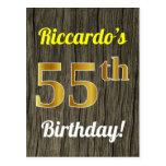 [ Thumbnail: Faux Wood, Faux Gold 55th Birthday & Custom Name Postcard ]