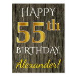[ Thumbnail: Faux Wood, Faux Gold 55th Birthday + Custom Name Postcard ]