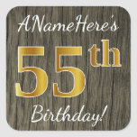 [ Thumbnail: Faux Wood, Faux Gold 55th Birthday + Custom Name Sticker ]