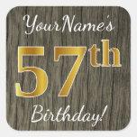 [ Thumbnail: Faux Wood, Faux Gold 57th Birthday + Custom Name Sticker ]
