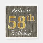 [ Thumbnail: Faux Wood, Faux Gold 58th Birthday + Custom Name Napkin ]